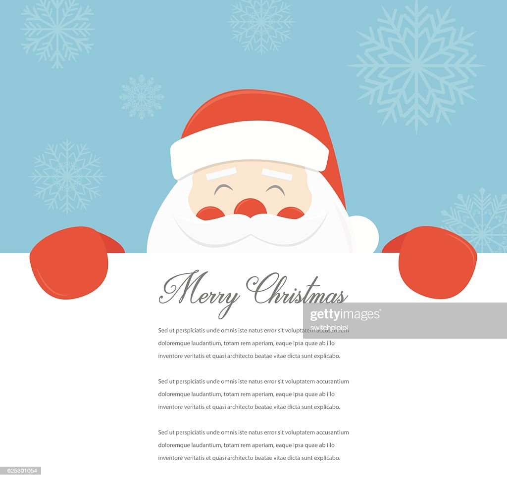 Christmas Card with Santa Claus. Template with copy space. Vector