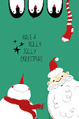 Christmas Card With Santa, Snowman and Penguins.