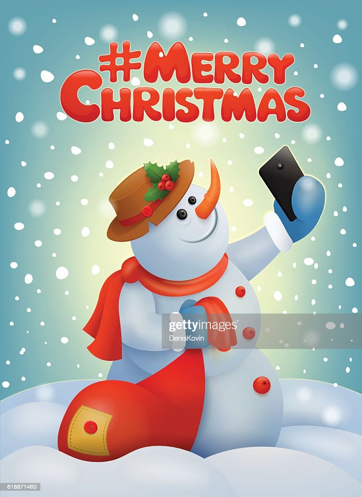 Christmas card with snowman making selfie