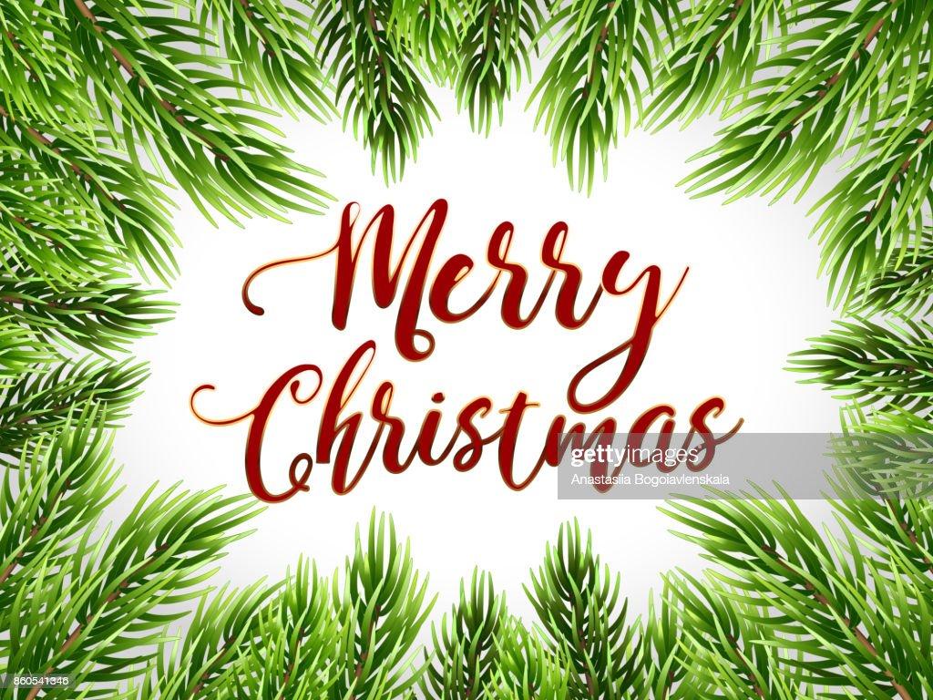 Weihnachtskarte Mit Text Tanne Baum Rand Vektorillustration ...