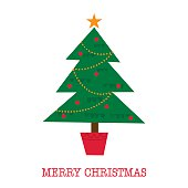 Christmas card with tree design vector