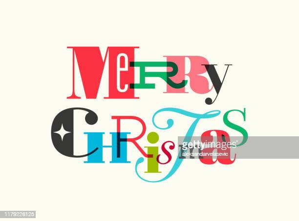 illustrazioni stock, clip art, cartoni animati e icone di tendenza di christmas card with typography greetings - testo