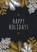 Christmas Card with White Evergreen Silhouettes