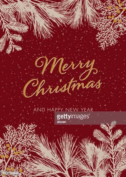 白い常緑シルエット付きクリスマス カード