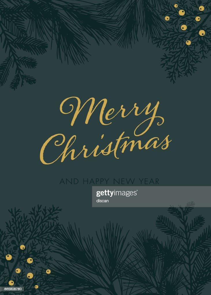 Cartão de Natal com silhuetas verdes brancas. : Ilustração