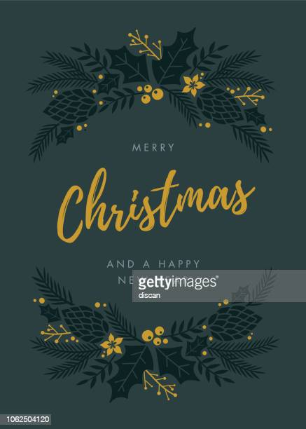 christmas card with wreath. - illustration - laurel wreath stock illustrations