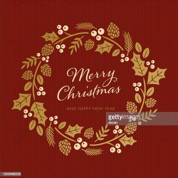 christmas card with wreath - christmas wreath stock illustrations