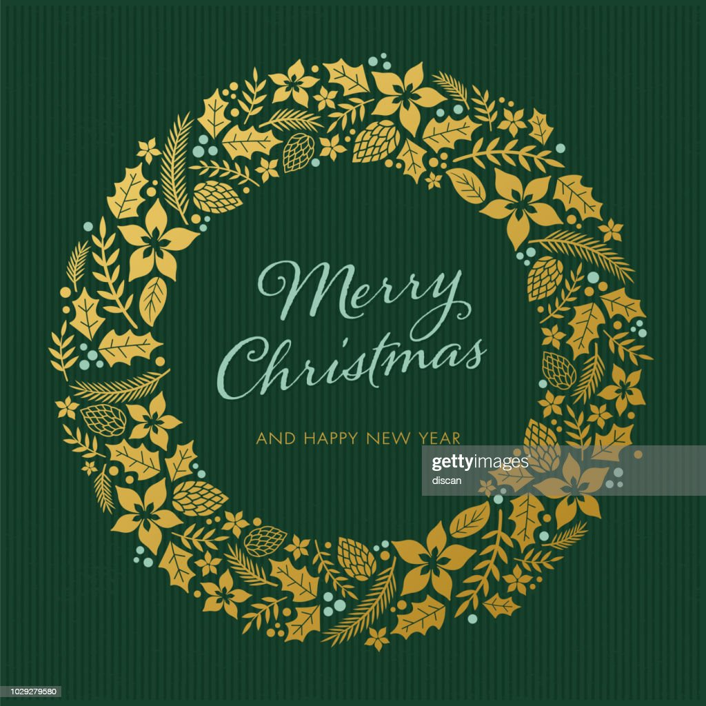 Christmas card with wreath : stock illustration