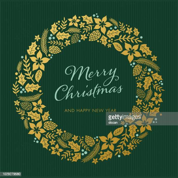 christmas card with wreath - christmas decoration stock illustrations