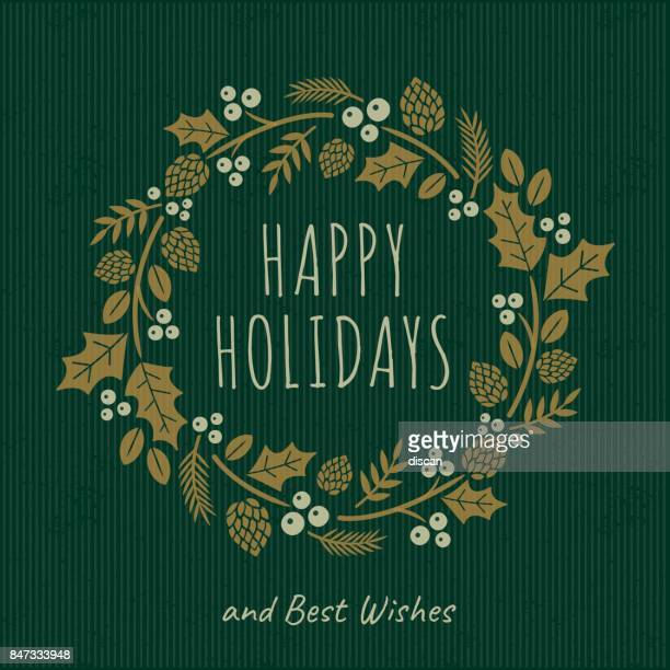 christmas card with wreath - laurel wreath stock illustrations