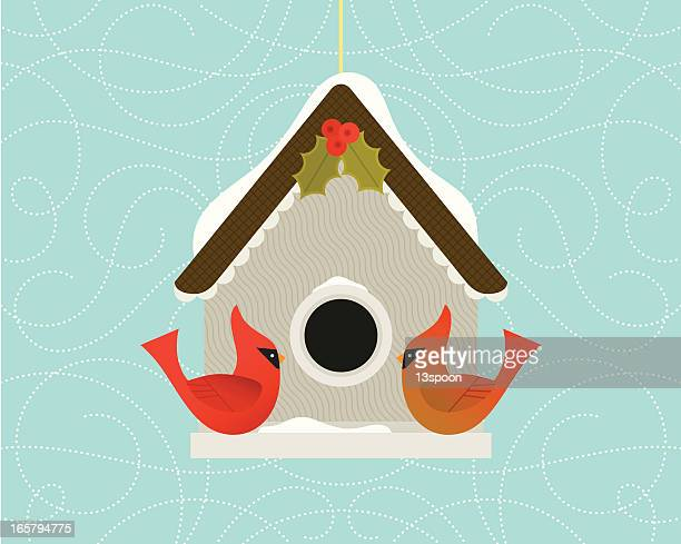 christmas cardinal birdhouse - birdhouse stock illustrations
