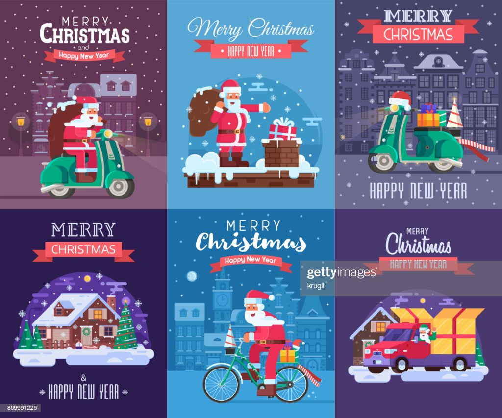 Christmas Cards Set with Santa Delivering