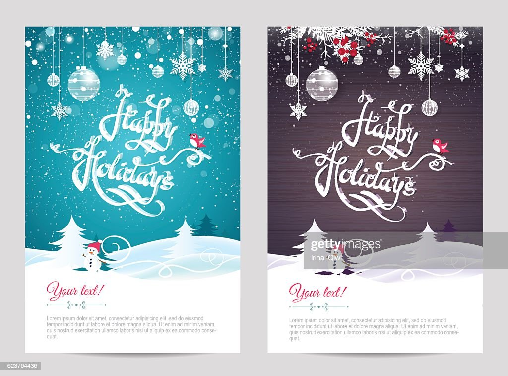 Christmas cards with calligraphy. Hand drawn design elements.