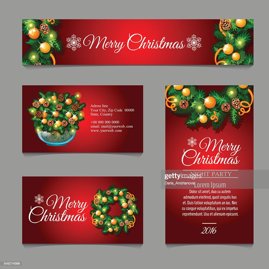 Christmas cards with fir tree branches and balls