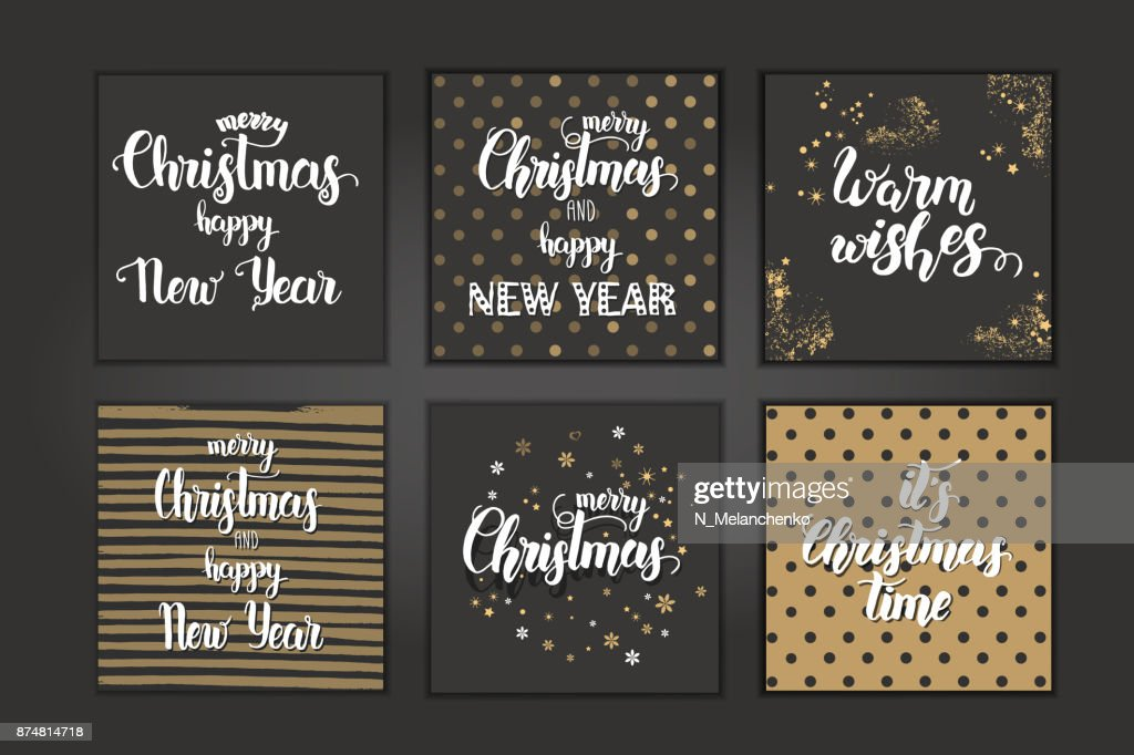 Christmas Cards With Hand Made Trendy Lettering Merry Christmas And ...