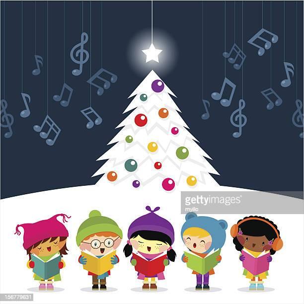 christmas carolers sing - christmas music stock illustrations