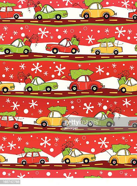 christmas cars - christmas travel stock illustrations, clip art, cartoons, & icons