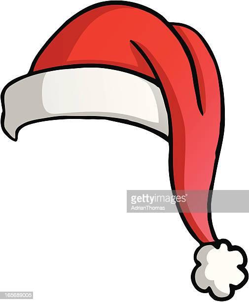 christmas cartoon santa hat - santa hat stock illustrations