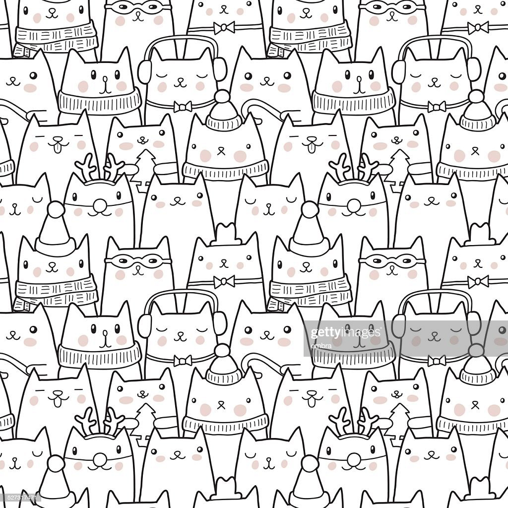 Christmas cats seamless pattern