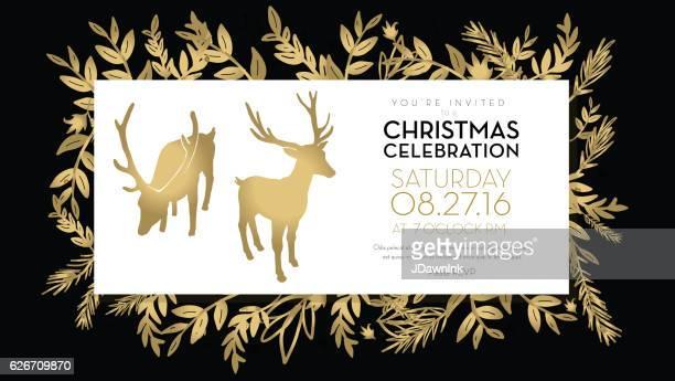 Christmas celebration invitation template golden hand drawn elements