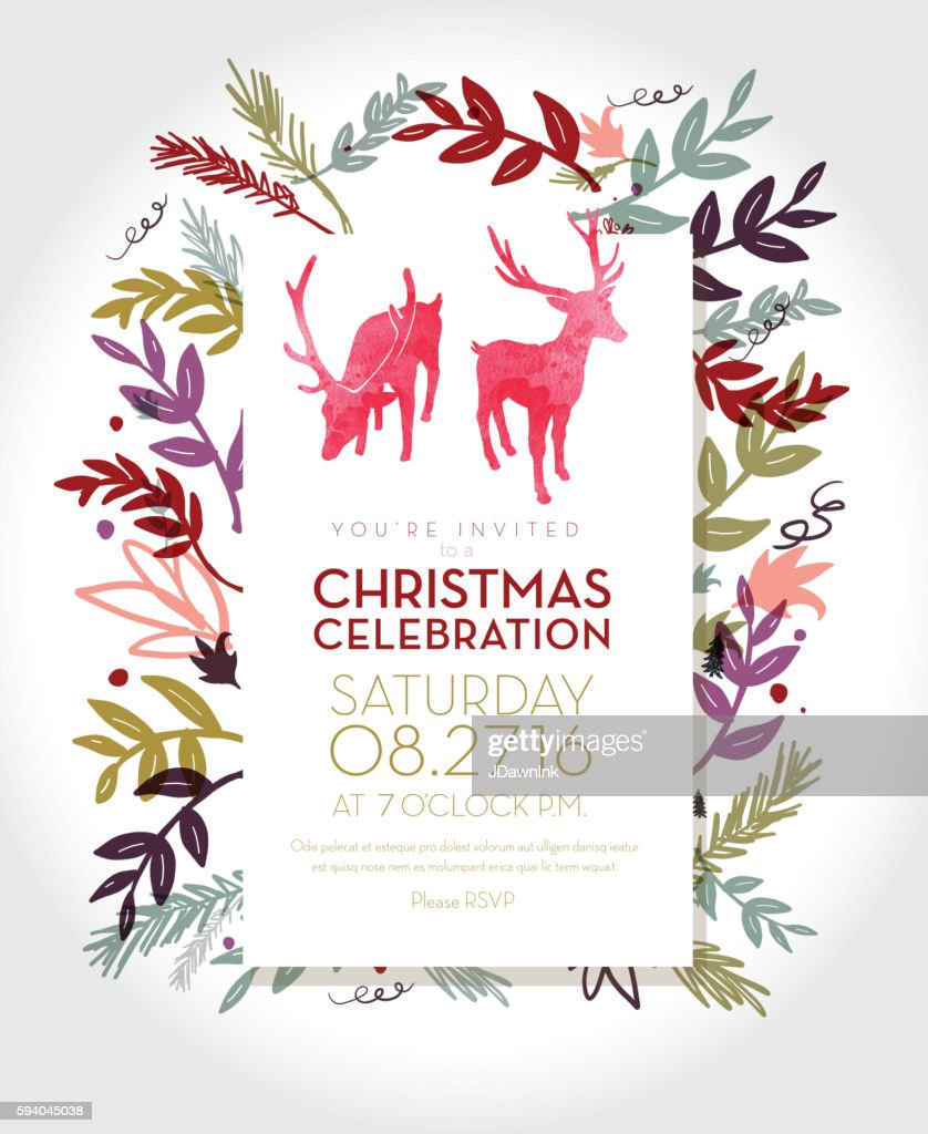 Christmas celebration invitation template with hand drawn elements : Vector Art