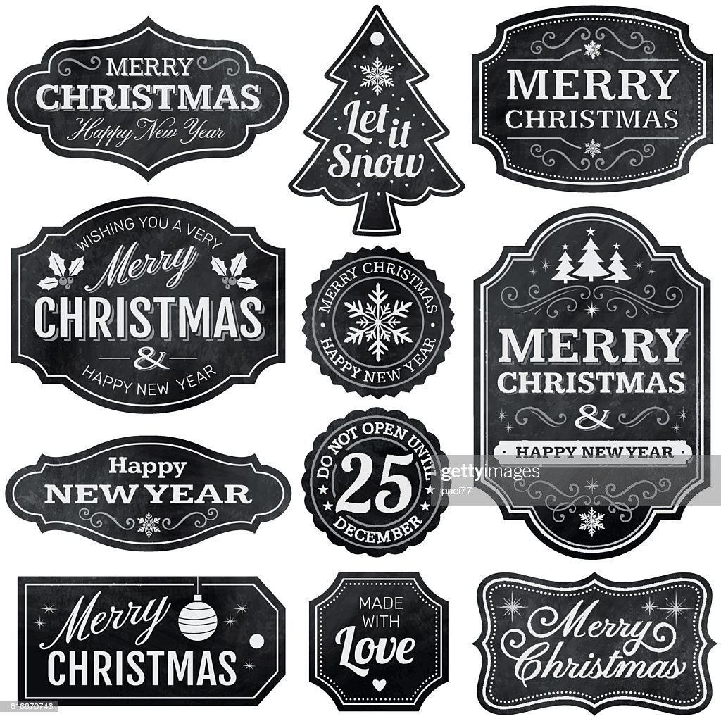 Christmas Chalkboard Labels : stock illustration
