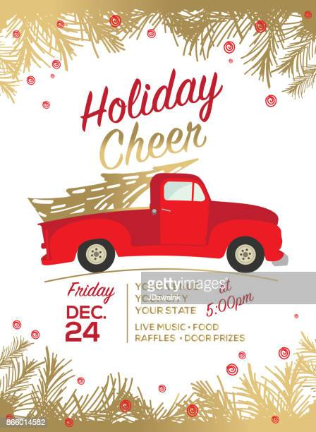 christmas cheer celebration invitation design template - classic car christmas stock illustrations