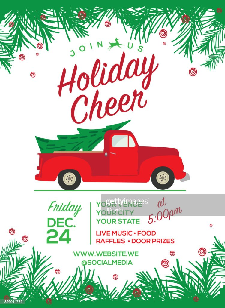 Christmas Cheer celebration invitation design template : Stock Illustration