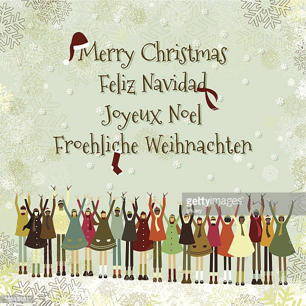 Christmas children multiethnic greeting card language
