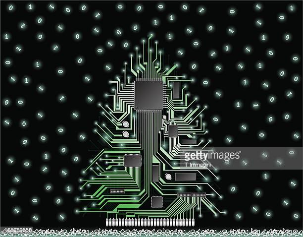 illustrations, cliparts, dessins animés et icônes de circuit de noël arbre avec de la neige - avent