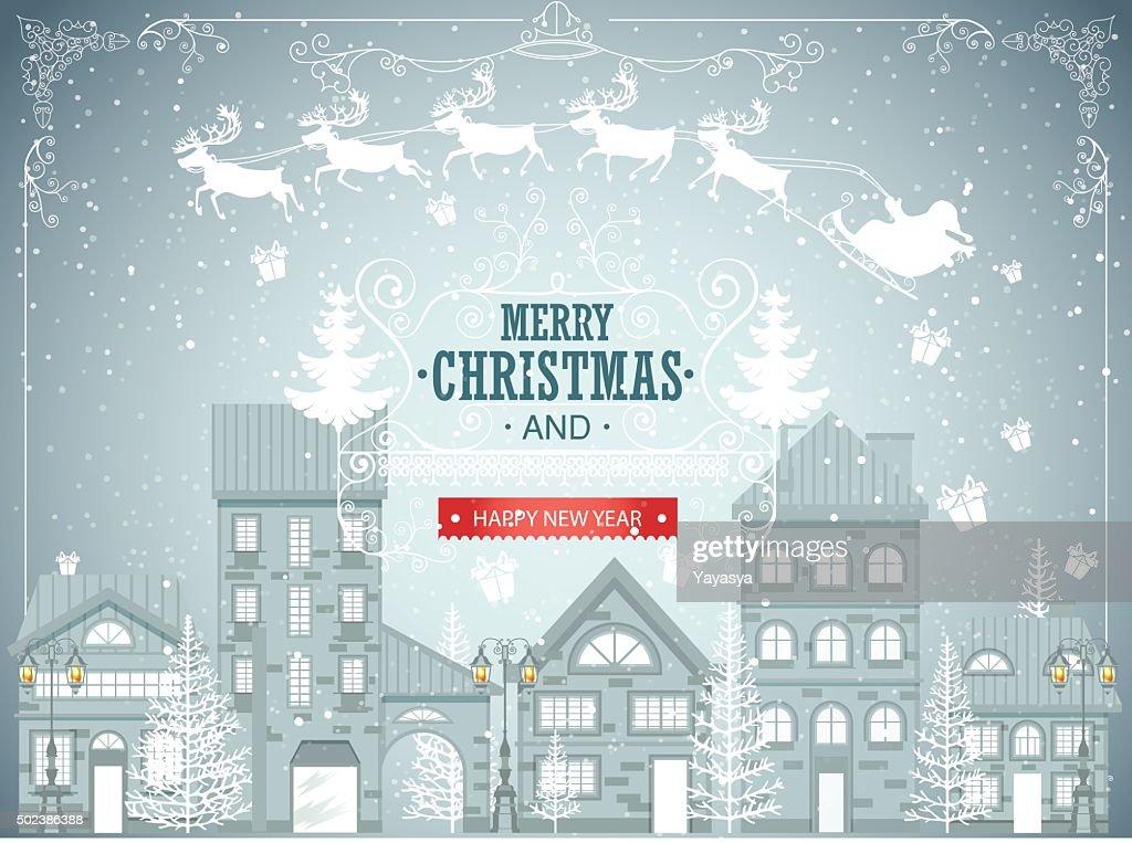 Christmas city landscape, urban winter background, vintage card, snowfall