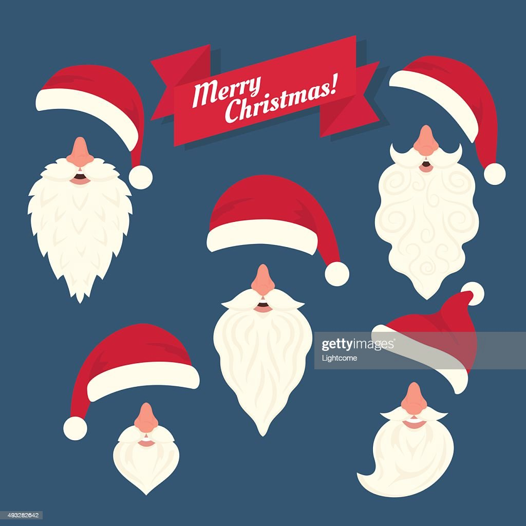 Christmas clothes collection of Santas hats with nose and white
