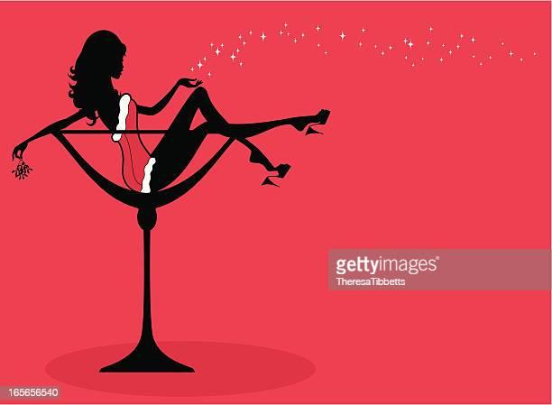 stockillustraties, clipart, cartoons en iconen met christmas cocktail girl - verleidelijke vrouw