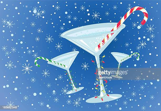 christmas cocktails - candy cane stock illustrations