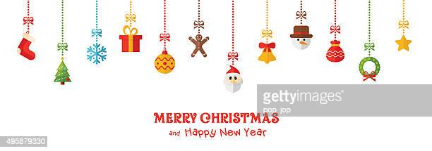 Christmas Colored Hanging Elements and Greeting Text - illustration