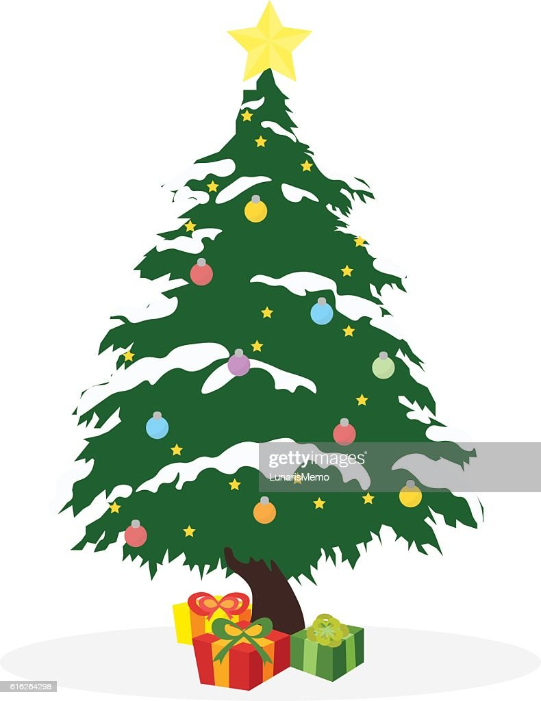 Christmas concept by tree and gift box : Vector Art