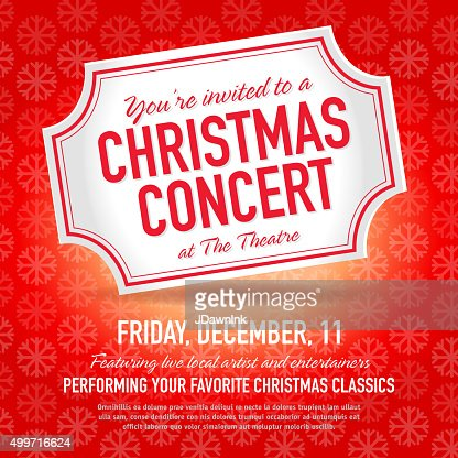 Christmas Concert Ticket Invitation Design Template Vector Art