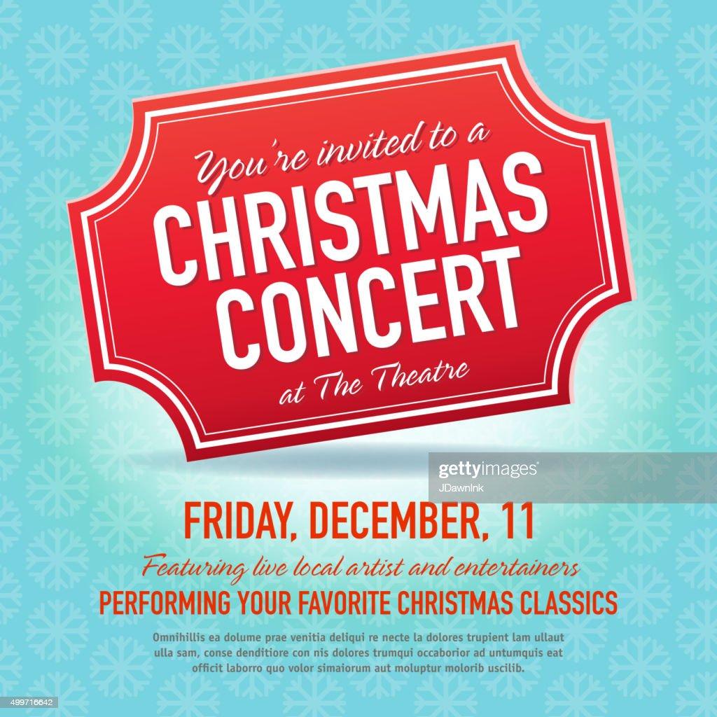 christmas concert ticket invitation design template vector art