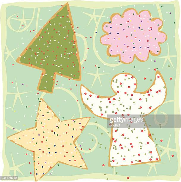 christmas cookie designs - dessert topping stock illustrations, clip art, cartoons, & icons