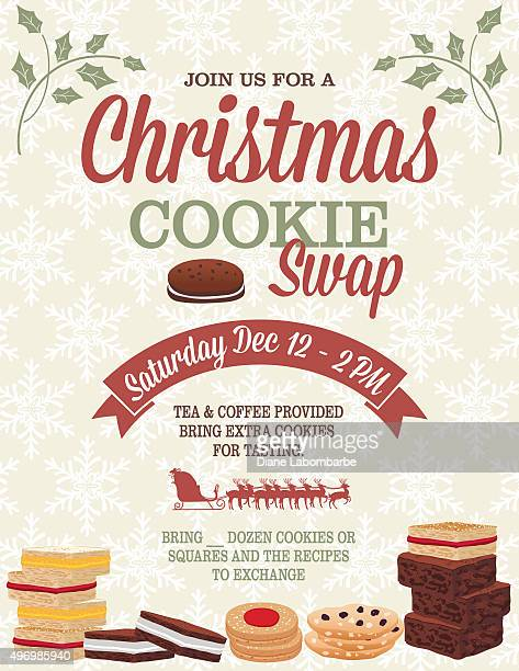 christmas cookie exchange party invitation template - brownie stock illustrations, clip art, cartoons, & icons