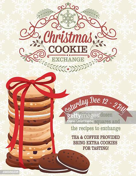christmas cookie exchange party invitation template - cookie stock illustrations, clip art, cartoons, & icons