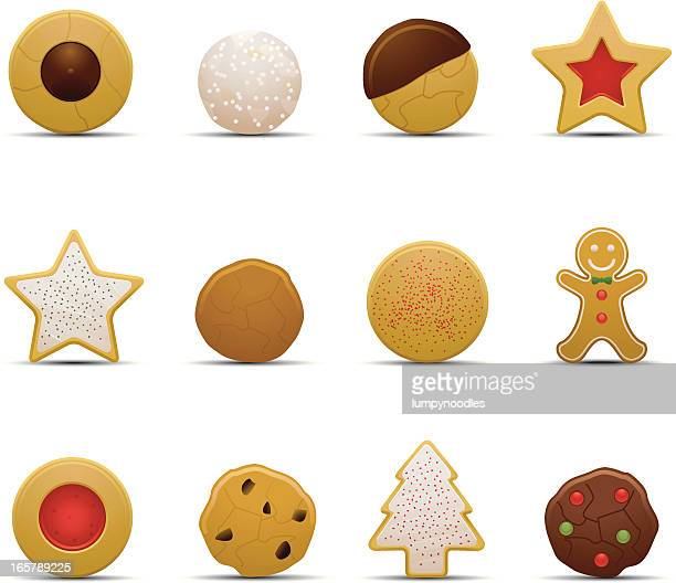 christmas cookie icons - cookie stock illustrations, clip art, cartoons, & icons