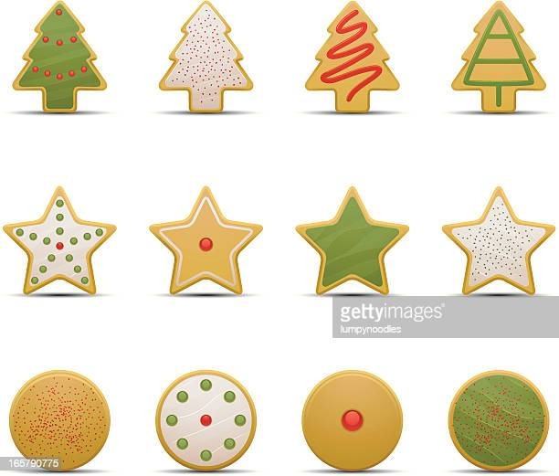 christmas cookie icons with sprinkles - cookie stock illustrations, clip art, cartoons, & icons
