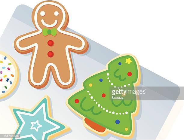 ilustraciones, imágenes clip art, dibujos animados e iconos de stock de hoja de galleta de navidad - galletas navidad