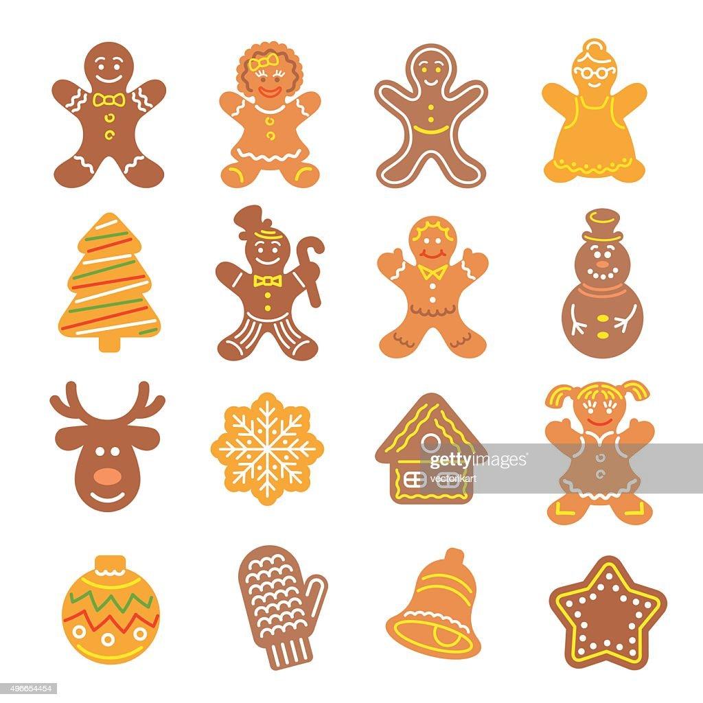 Christmas cookies flat icons set