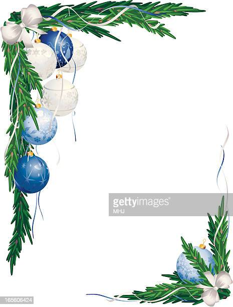 Christmas Corner Garlands Blue and White Baubles
