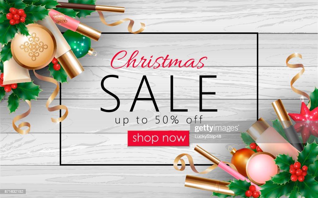 Weihnachten Kosmetik Verkauf 3d Realistisch Web Banner Vorlage ...