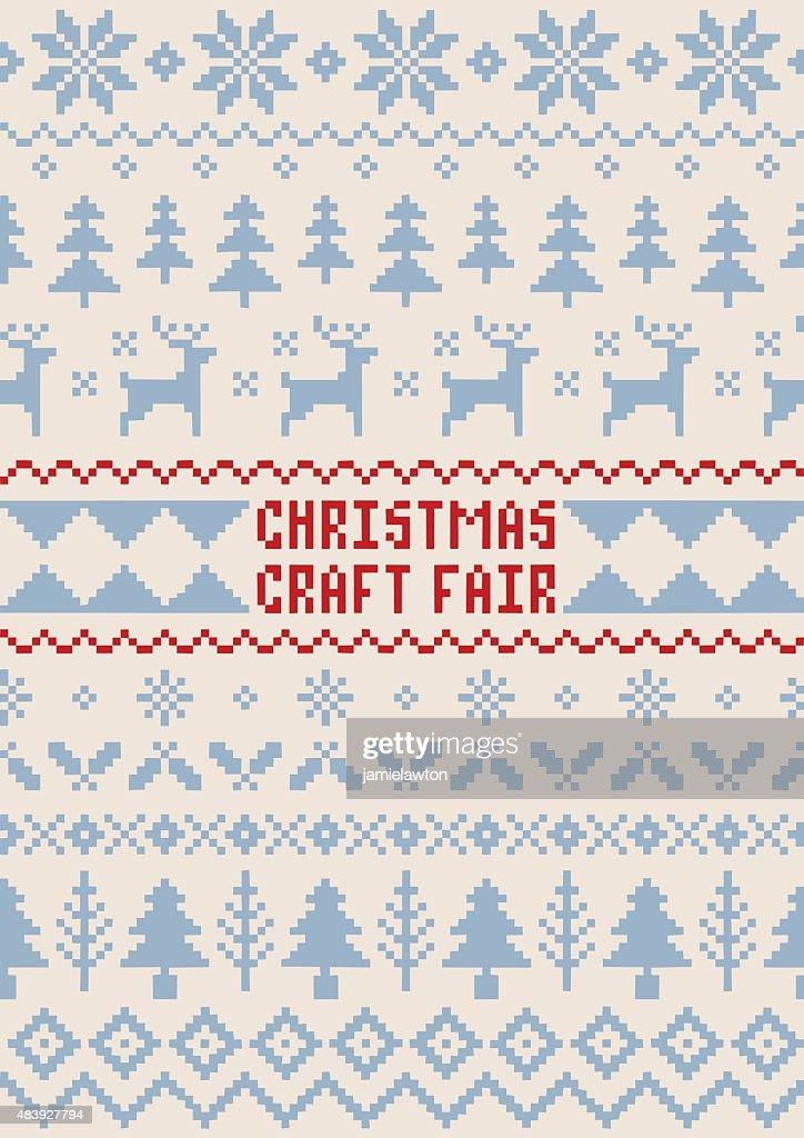 Christmas Craft Fair Poster - Handmade Seamless Pattern