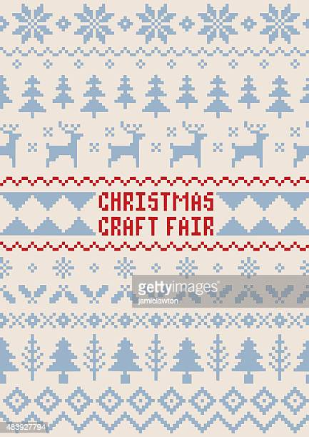 Christmas Craft Fair Poster - Handmade Seamless Pattern