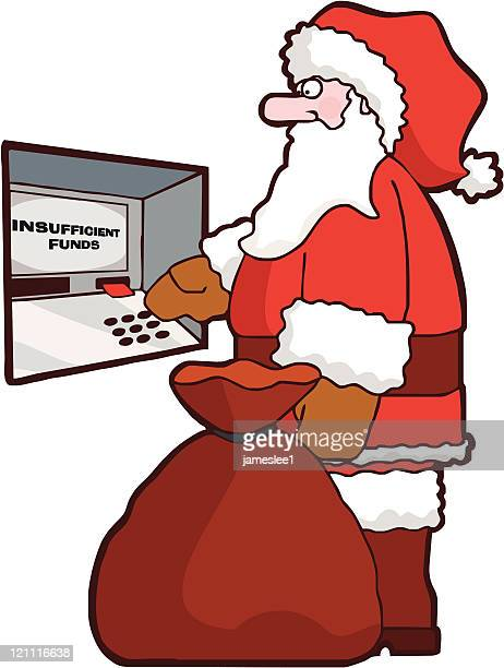 christmas credit crunch - christmas cash stock illustrations